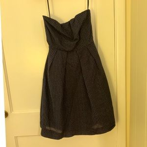J. Crew Navy Polka Dot Searsucker Strapless Dress